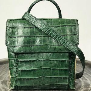 Kenneth Cole Green Croc Top Handle Bag